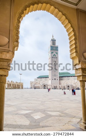CASABLANCA, MOROCCO, APRIL 2, 2015: Hassan II Mosque or Grande Mosquee Hassan II - view from arcades - stock photo