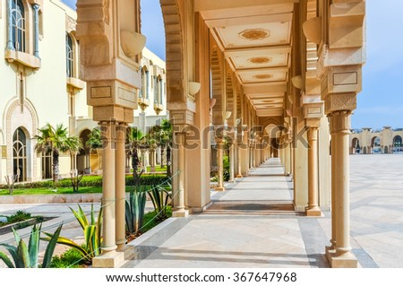 CASABLANCA, MOROCCO, APRIL 2, 2015:  the outside grounds of Hassan II Mosque or Grande Mosquee Hassan II - stock photo