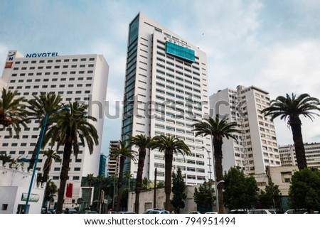 Casablanca, Morocco - 14 January 2018 : low angle view of Sofitel and Novotel buildings