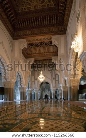 CASABLANCA, MOROCCO - OCTOBER 31: The interior of the Mosque Hassan II on October 31, 2008 in Casablanca. The White mosque is one of the largest in the world, the only opened for nonmuslims in Morocco
