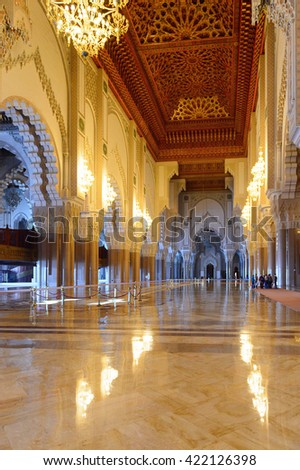 CASABLANCA, MOROCCO - SEP 1, 2015: Interior of Hassan II Mosque or Grande Mosquee Hassan II. It is the largest mosque in Morocco and the 13th largest in the world.