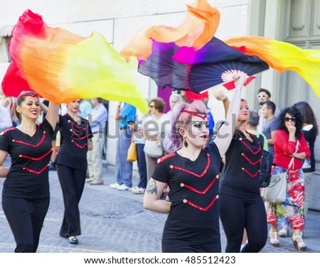 "CASALE MONFERRATO, ITALY - SEPTEMBER18, 2016: Majorettes in parade in Casale Monferrato, Italy, for the ""Festa del Vino"", the annual Wine Fest"