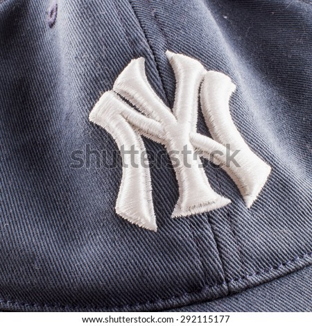 CASALE MONFERRATO, June 29, 2015: New York Yankees symbol over blue cap. New York Yankees are the most famous american baseball franchise.