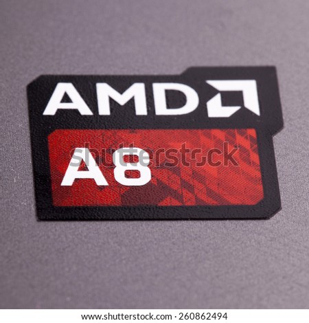 CASALE MONFERRATO, MARCH 15, 2015:AMD A8 symbol. Advanced Micro Devices, Inc. (AMD) is an American worldwide semiconductor company based in Sunnyvale, California, United States - stock photo
