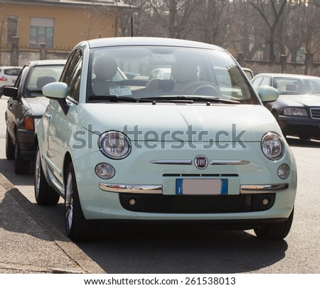CASALE MONFERRATO, MARCH 10, 2015: Fiat 500 parked on the street. Fiat is a subdivision group of great autumobiles group FCA.