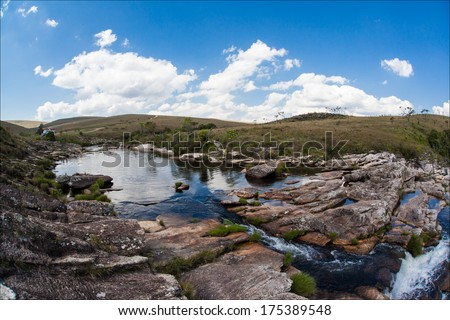 Casca D'anta waterfalls - Serra da Canastra National Park - Minas Gerais - Brazil - stock photo