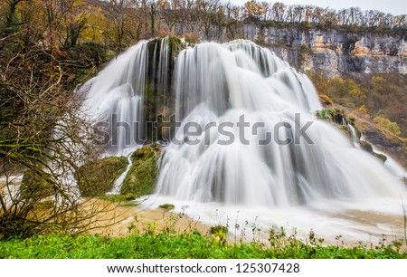 Cascade des Tufs near the Jura mountain French village of Baume-Les-Messieurs, French Comte, France - stock photo