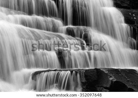 Cascade Falls at Fall Creek Falls State Park in Tennessee with long exposure. - stock photo