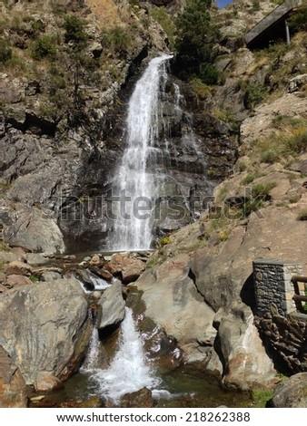 cascade of Andorra La Vella - stock photo