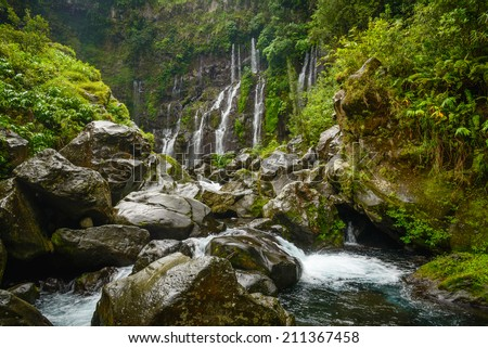 Cascade of Grand Galet from below, la Reunion island - stock photo