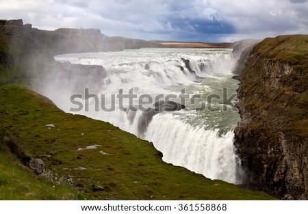 Cascade of Gullfoss waterfall, Iceland