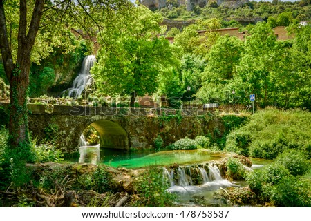 Cascade of Orbaneja del Castillo in spring.Burgos.Spain