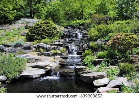 Cascade Rock Garden Waterfall New York Botanical Garden New York