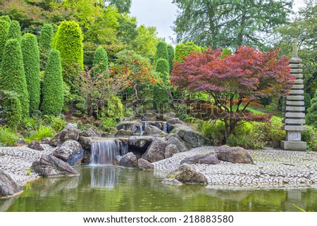 Cascade waterfall in Japanese garden in Bonn, Germany - stock photo