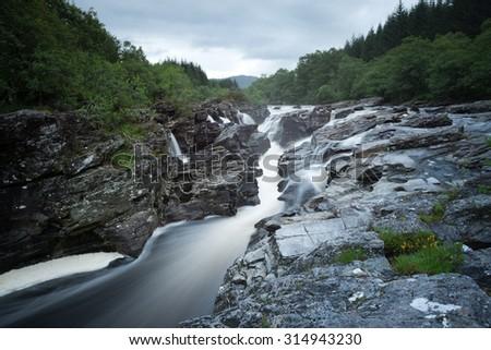 Cascades at river Orchy , Scotland - stock photo
