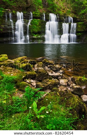 Cascades at Sgwd y Pannwr in spring in Brecon Beacons national park, Wales. - stock photo