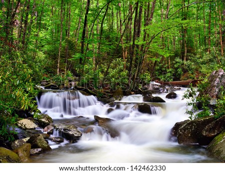 cascades in the Smoky Mountains of Tennessee, USA. - stock photo