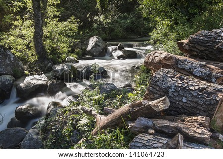 Cascades on a mountain river with a silky effect on the water that conveys a sense of relaxation.