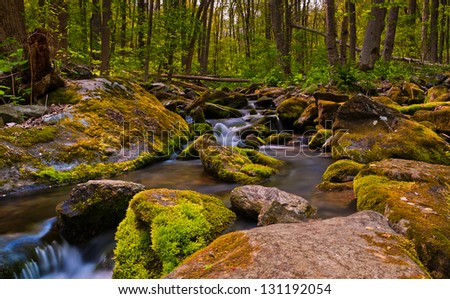 Cascades on South River, Shenandoah National Park, VA. - stock photo