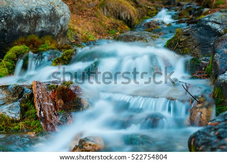 Cascading spring creek flowing through the forest, Alberta Canada