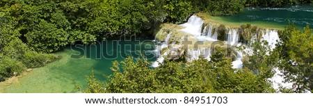 Cascading Water. Krka Waterfall National Park in Croatia. - stock photo