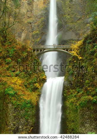 Cascading Waterfall and autumn landscape. Multinomah fall is 200Fit fall and must popular place in Oregon, Northwest.