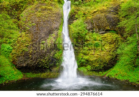 Cascading Waterfall at Columbia, Columbia Gorge - stock photo