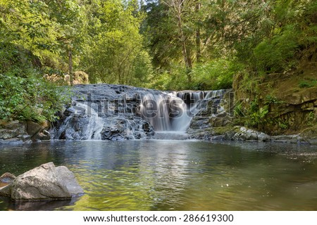 Cascading Waterfall at Sweet Creek Falls Trail Complex in Mapleton Oregon - stock photo