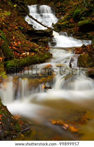 Cascading waterfall during autumn located in Oil Creek State Park.