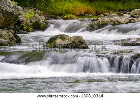 Cascading white water in Roaring Fork creek in the Smokies - stock photo