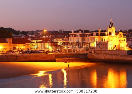 Cascais beach in the evening, Lisbon, Portugal - stock photo
