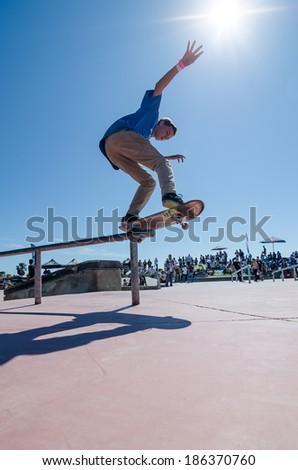 CASCAIS, PORTUGAL - APRIL 6 2014: Gustavo Ribeiro during the 4th Stage of the DC Skate Challenge by Fuel TV.