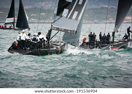 Cascais, Portugal - April 26, 2014: RC44 CASCAIS CUP. International competition in class yachts RC44.