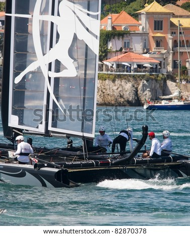 CASCAIS, PORTUGAL - AUGUST 14- America's Cup AC World Series - Fleet Race - Artemis Racing - Sweden in Cascais, Portugal, August 14, 2011