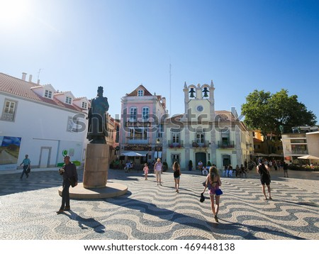CASCAIS, PORTUGAL - JULY 15, 2016: Central square in Cascais with statue of Dom Pedro I, Lisbon, Portugal