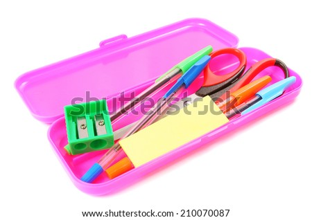 Case and school tools. On white background.