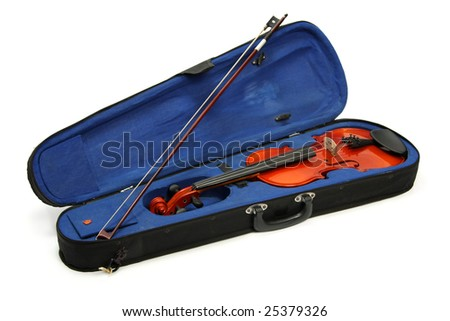 Case and violin, isolated on white - stock photo