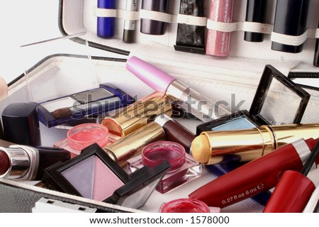 case full of makeup - stock photo
