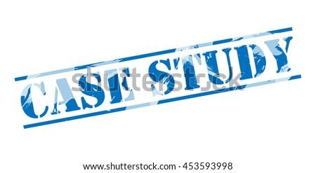 case study blue stamp on white background - stock photo