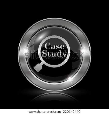 Case study icon. Internet button on black background.