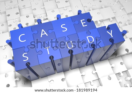 Case Study - puzzle 3d render illustration with text on blue jigsaw pieces stick out of white pieces - stock photo
