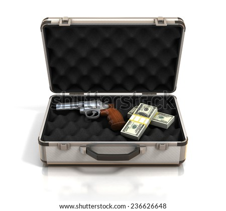 case with money and gun - stock photo