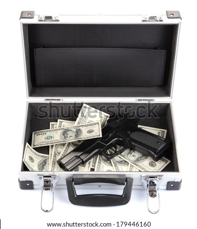 Case with money and gun, isolated on white