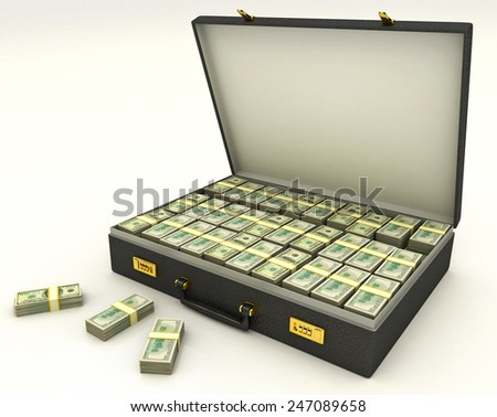 case with money 3D - stock photo