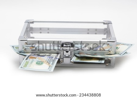 Case with money on a light background