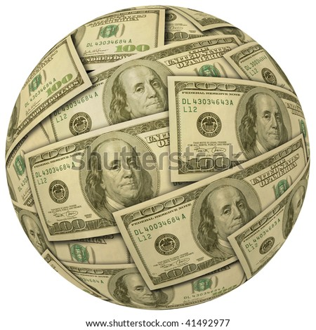 Cash Ball or Sphere of 100 dollar banknotes - stock photo