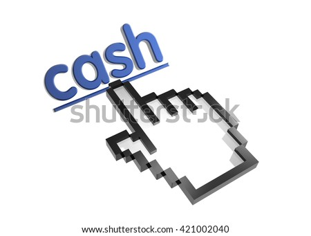cash. 3d rendered inscription. Link and finger, pointer. Isolated on white - stock photo