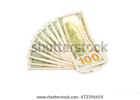 Cash dollars on white background