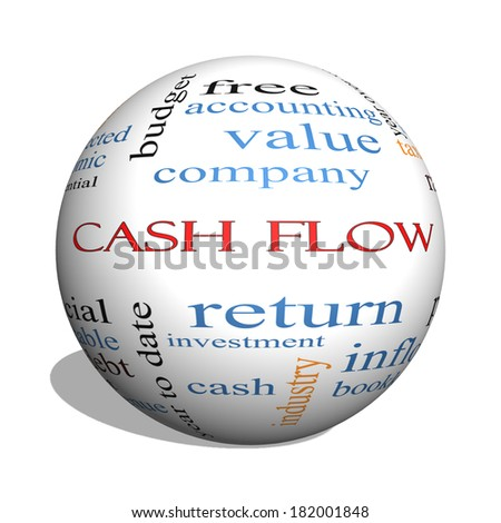 Cash Flow 3D sphere Word Cloud Concept with great terms such as return, investment, payments and more. - stock photo
