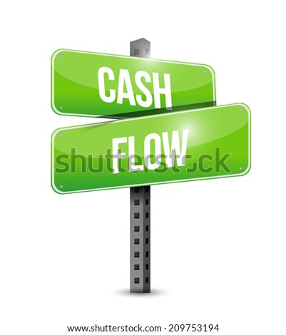 cash flow street sign illustration design over a white background - stock photo